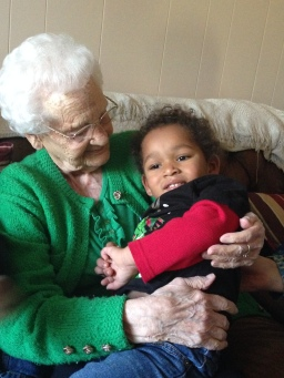 Aaron with Iris. She turns 99 this year.