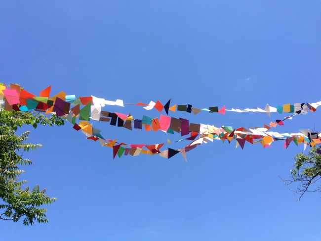 Bunting against blue sky
