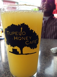 "The ""Mega"" Mamosa served with a smile at the Tupelo Honey Cafe"
