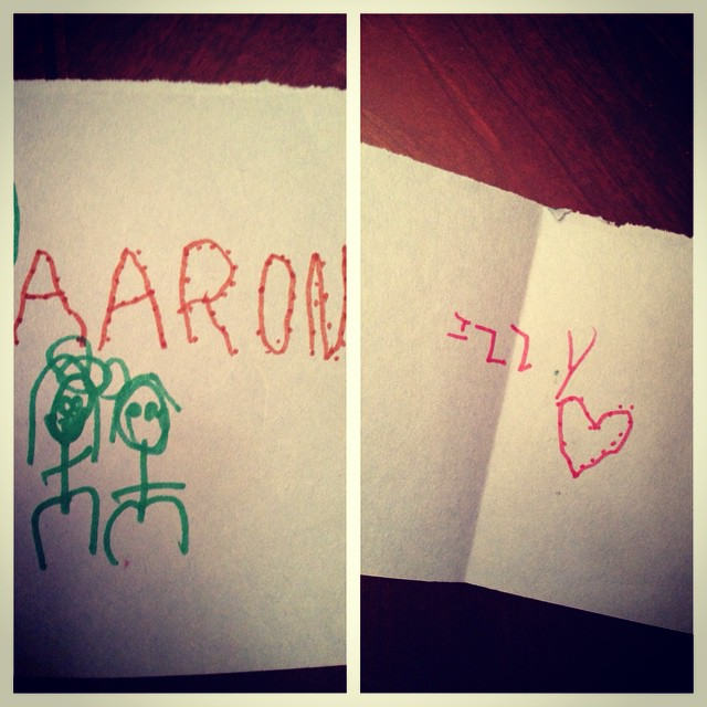 Izzy's birthday card to Aaron