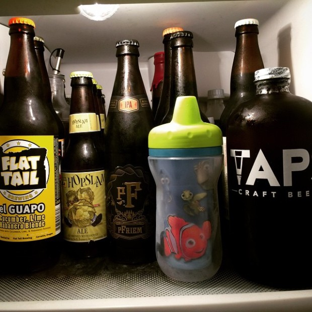 The top shelf of our fridge. There is no beer in the Nemo sippy cup I swear!